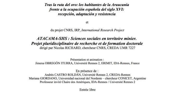 Atelier Recherche : L'extraction minière en Amérique hispanique à la période coloniale (18 sept. 2019)